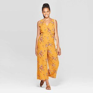 NEW Yellow Floral V-Neck Wide Leg Jumpsuit